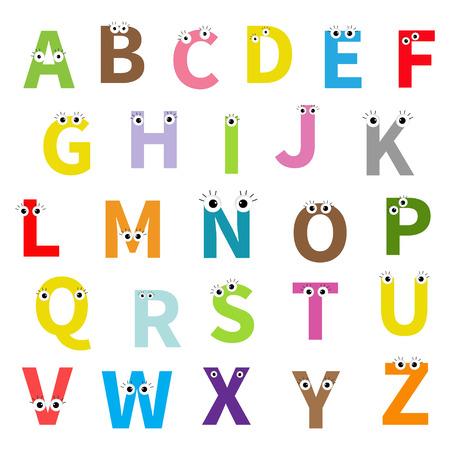 Alphabet. Englisch abc. Briefe mit Gesicht, die Augen. Bildung Karten für Kinder Weißer Hintergrund Flache Design isoliert. Vektor-Illustration Vektorgrafik