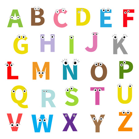 Alphabet. English abc. Letters with face, eyes. Education cards for kids Isolated White background Flat design. Vector illustration