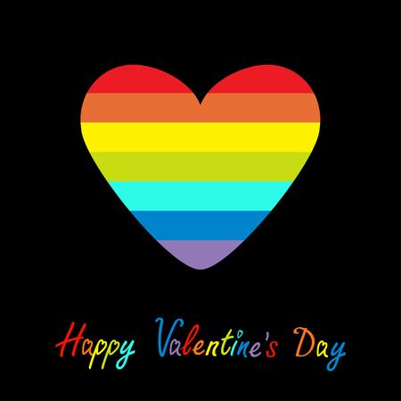 happy black people: Happy Valentines Day. Love card. Rainbow heart. Gay LGBT symbol. Flat design. Vector illustration