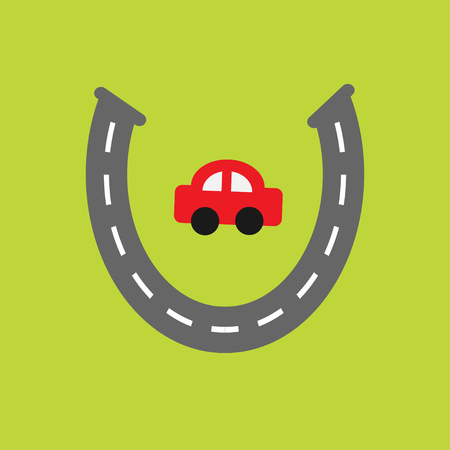 marking: Background with road white marking and cartoon car. Horseshoe shape. Template. Flat design. Vector illustration