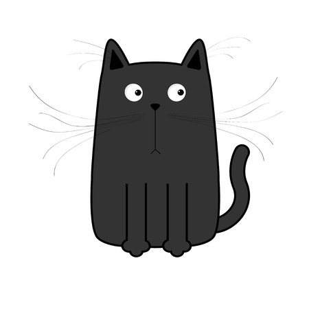 whisker: Cute black cartoon cat. Big mustache whisker. Funny character. Flat design. White background. Isolated. Vector illustration