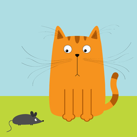 whisker: Cute red orange cartoon cat looking at mouse. Big mustache whisker. Funny character. Sky and grass. Flat design. Vector illustration