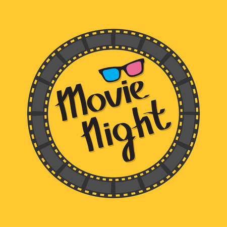 Film strip round circle frame. 3D glasses. Movie night text. Lettering. Yellow background. Flat design. Vector illustration