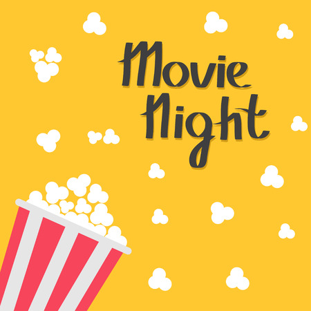 Popcorn bag. Cinema icon in flat design style. Left side. Movie night text. Lettering. Vector illustration