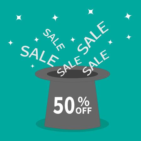big hat: Magic hat.  50 percent off. Sale background. Big sale. Supersale tag. Special offer. Sparkles stars. Flat design. Vector illustration