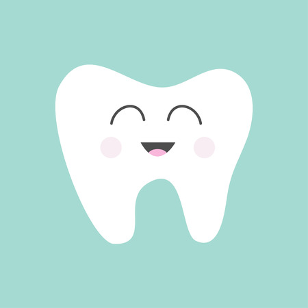 tooth cartoon: Tooth icon. Cute funny cartoon smiling character. Oral dental hygiene.  Children teeth care. Tooth health. Baby background. Flat design. Vector illustration