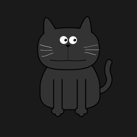 grey cat: Cute grey contour cat. Flat design. White background. Isolated Vector illustration