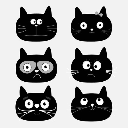 Cute black cat head set. Funny cartoon characters. White background. Isolated. Flat design. Vector illustration Çizim