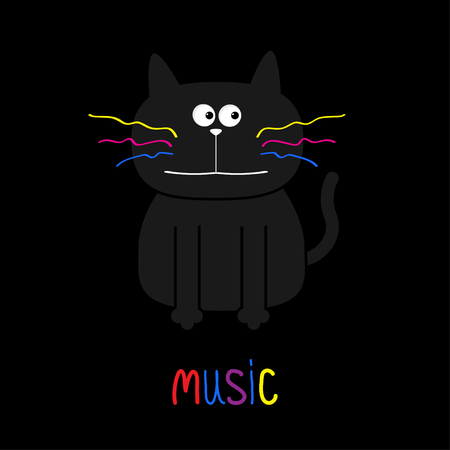 moustaches: Cute black cat with colorful moustaches. Music card. Flat design. Black background. Vector illustration Illustration