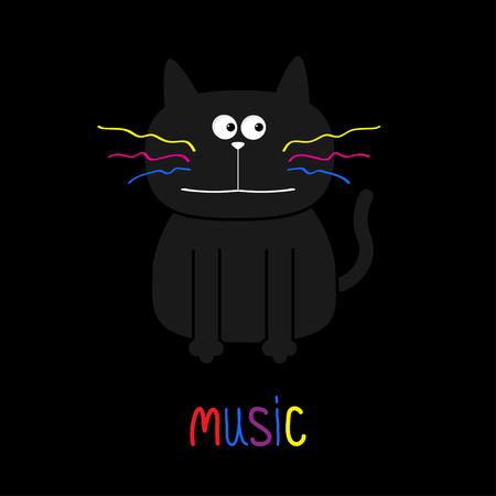 Gato negro lindo con los bigotes de colores. para música. Diseño plano. Fondo negro. ilustración vectorial