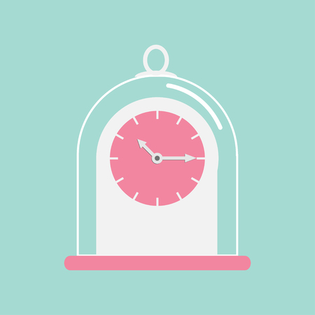 collectible: Clock icon with glass cap. Flat design. Pink face. Blue background. Vector illustration