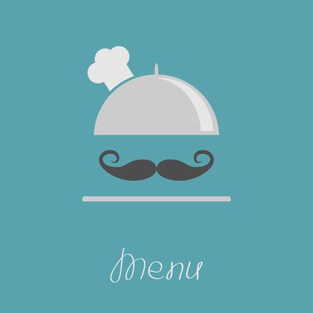 white moustache: Silver platter cloche Chef hat with big curl moustache. Menu card. Flat design. Vector illustration Illustration