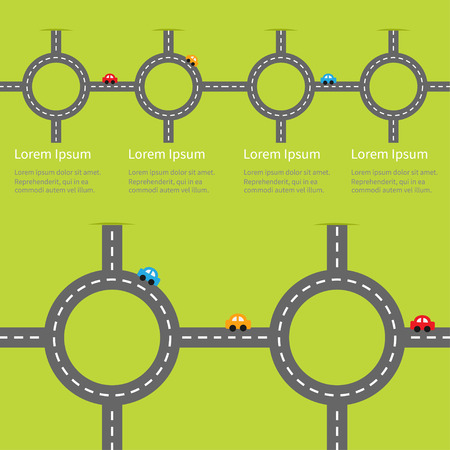 marking: Road white marking and cartoon cars. Circle round crossroad set. Infographic timeline template.  Design element. Green grass background. Flat design. Vector illustration