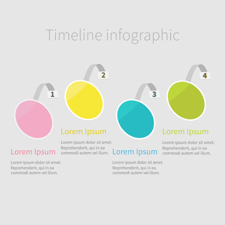 wobbler: Infographic Timeline four step round circle wobbler. Numbers. Template. Flat design. White background. Isolated. Vector illustration