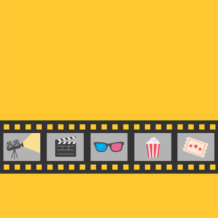 Film strip icon set. Popcorn, clapper board, 3D glasses, ticket, projector. Cinema movie night. Yellow background. Flat design style. Vector illustration Vector Illustration