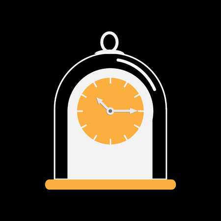 collectible: Clock icon with glass cap. Flat design. Black background.Vector illustration