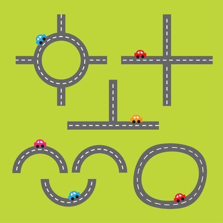 marking: Road white marking and cartoon cars. Crossroad. Design element set. Flat design. Vector illustration