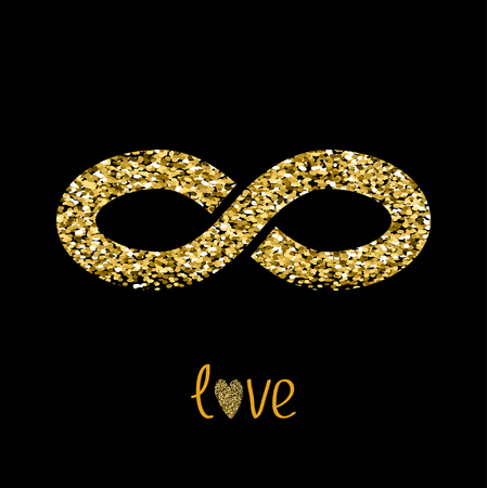 limitless: Limitless red sign with heart symbol. Infinity icon. Love card. Flat design. Gold sparkles glitter texture Black background. Vector illustration.