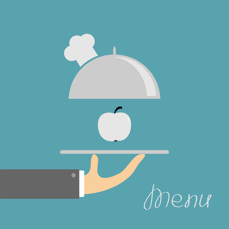 chrome man: Hand holding silver platter cloche with chefs hat and apple. Menu card. Blue background. Flat design. Vector illustration