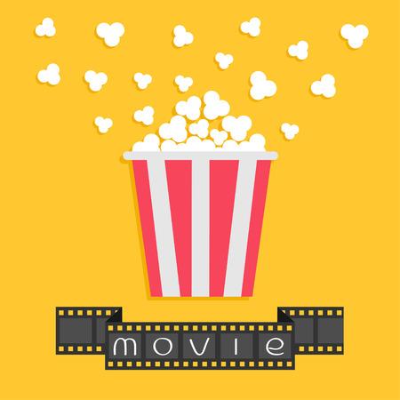 Popcorn. Film strip ribbon. Red yellow box. Cinema movie night icon in flat design style. Vector illustration Ilustração