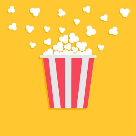 popping: Popcorn popping. Red yellow strip box. Cinema movie night icon in flat design style. Vector illustration