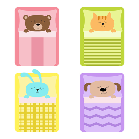 blanket: Cute sleeping animal set. Cat, bear, dog rabbit, hare and  bunny. Bed, blanket and pillow. Baby background. Flat design. Vector illustration