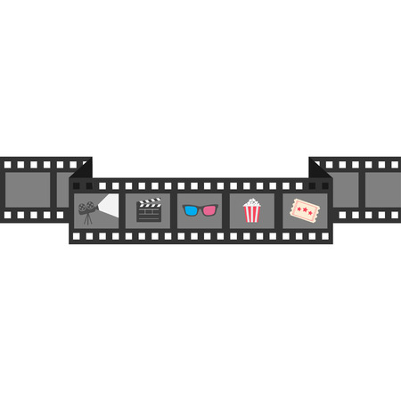 clapper board: Film strip icon set. Popcorn, clapper board, 3D glasses, ticket, projector. Cinema movie night.  White background Isolated. Flat design style. Vector illustration Illustration