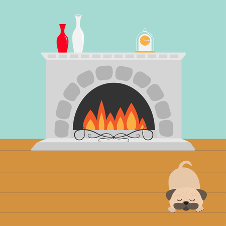 pug dog: Fireplace with fire. Sleeping mops pug dog. Vase set and clock. Flat design. Vector illustration Illustration
