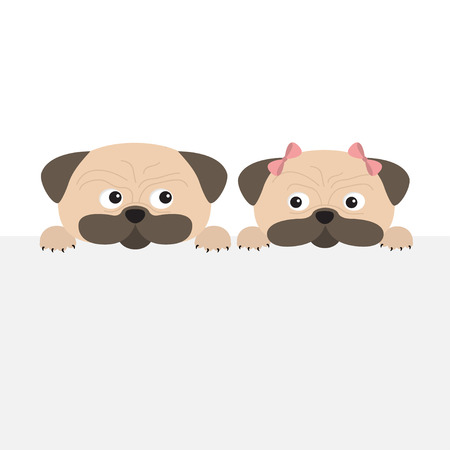Pug dog mops set. Boy and girl. Cute cartoon character. Flat design. Isolated. Wite background. Vector illustration Stock Illustratie