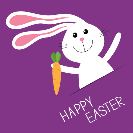 carrot nose: Happy Easter. Bunny rabbit hare carrot in the pocket. Baby greeting card. Violet background. Flat design. Vector illustration