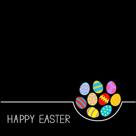 Gekleurde Happy Easter egg instellen Witte lijn zwarte achtergrond Platte ontwerp vectorillustratie