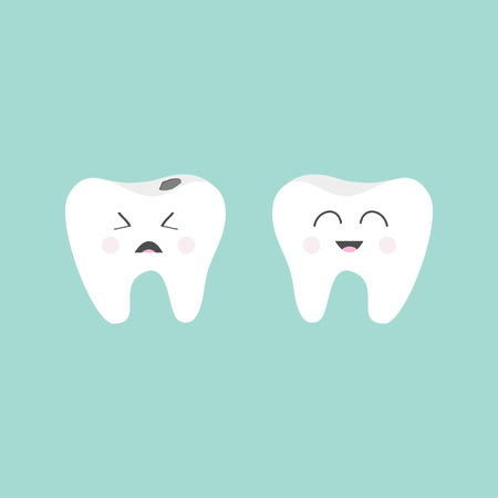 bad hygiene: Tooth icon. Healthy smiling tooth. Crying bad ill tooth with caries. Cute character set. Oral dental hygiene.  Children teeth care. Tooth health. Baby background. Flat design. Vector illustration
