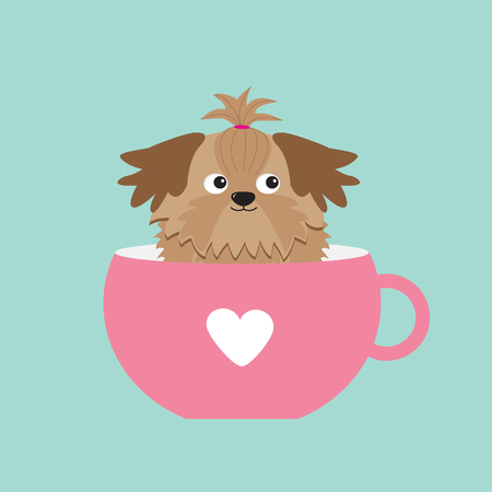 shih tzu: Shih Tzu dog sitting in pink cup with heart. Cute cartoon character. Flat design.  Blue background. Vector illustration Illustration