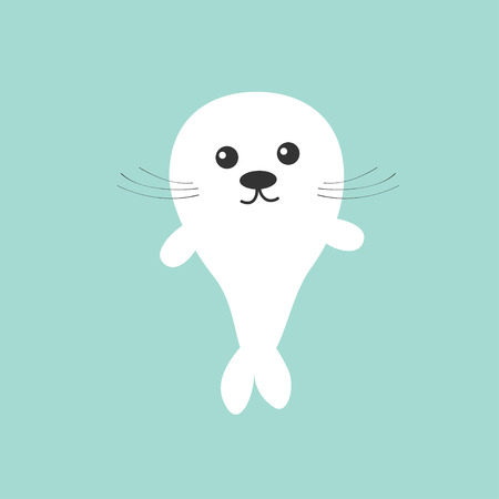 pup: Seal pup baby harp. Cute cartoon character. Blue background. Flat design Vector illustration