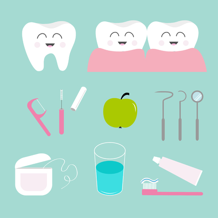 hygiene: Tooth icon set. Toothpaste, toothbrush, dental tools instruments,  thread, floss, mirror, brush, water. Children teeth care. Oral dental hygiene Tooth health Baby background Flat design Vector