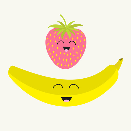 strawberry cartoon: Banana and strawberry. Happy fruit set. Smiling face. Cartoon smiling character with eyes. Friends forever. Isolated. Flat design. Vector illustration