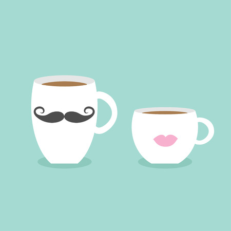 contemporary taste: Coffee cup mug moustaches and lips. Blue background Flat modern simply design Vector illustration Illustration