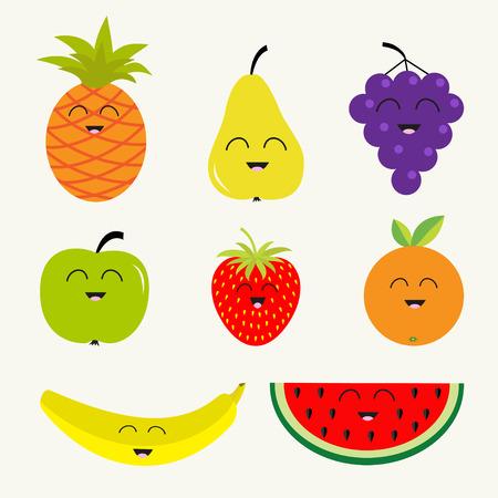apple slice: Fruit and berry set.  Character face. Banana cherry strawberry orange pineappl grape lemon cherry mellon, watermellon blueberry pear raspberry apple slice  Isolated Flat design Vector illustration