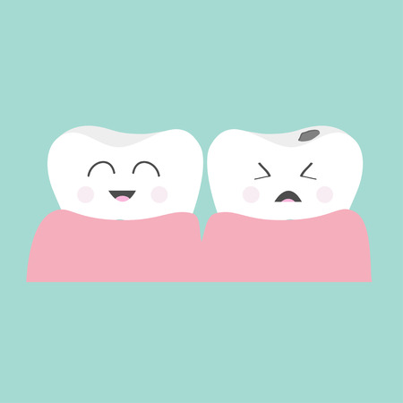 white teeth: Tooth gum icon. Healthy smiling tooth. Crying bad ill tooth with caries. Cute character set. Oral dental hygiene.  Children teeth care. Tooth health. Baby background. Flat design. Vector illustration