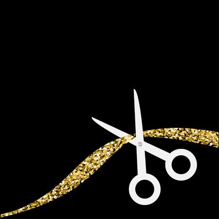 inaugural: Scissors cut the ribbon. Flat design style. Gold sparkles glitter Black background Vector illustration. Illustration