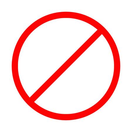 Prohibición modelo muestra ningún símbolo rojo ronda de advertencia de stop aisladas. Diseño plano ilustración vectorial Ilustración de vector