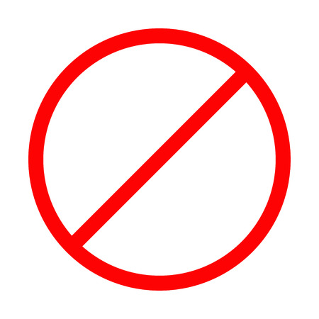 Prohibition no symbol Red round stop warning sign Template Isolated. Flat design Vector illustration Stock Illustratie