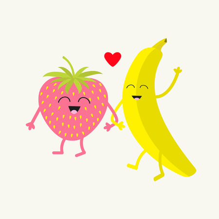 friends eating: Banana and strawberry. Happy fruit set. Smiling face. Cartoon smiling character with eyes. Friends forever. Red heart. Isolated. Flat design. Vector illustration