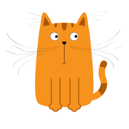 whisker: Cute red orange cartoon cat. Big mustache whisker. Funny character. Flat design. White background. Isolated. Vector illustration