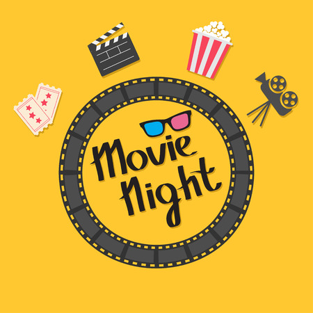 Film strip round circle frame. 3D glasses, popcorn, clapper board, ticket, projector icon set. Movie night text. Lettering. Yellow background. Flat design. Vector illustration