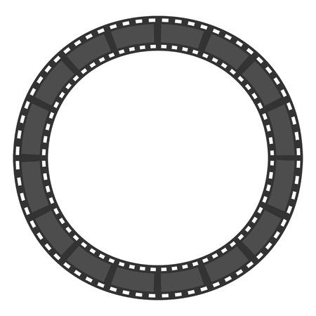 フィルム ストリップのラウンド サークル フレーム。テンプレートです。デザイン要素。白い背景。分離されました。フラットなデザイン。ベクト