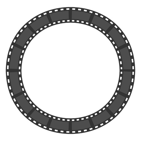 Film strip round circle frame. Template. Design element. White background. Isolated. Flat design. Vector illustration