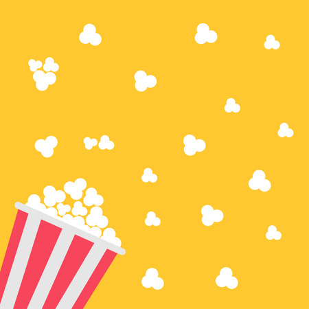 a cartoon film: Popcorn bag. Cinema icon in flat design style. Vector illustration