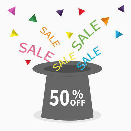 big hat: Magic hat.  50 percent off. Sale background. Big sale. Supersale tag. Special offer. Triangle decor. Isolated. Flat design Vector illustration Illustration