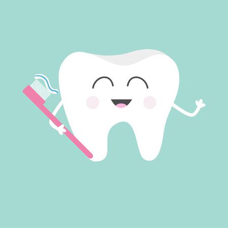 치아 치약으로 칫 솔을 들고 치아입니다. 귀여운 재미있는 만화 웃는 캐릭터. 어린이 치아 치료 아이콘입니다. 구강 치과 위생. 치아 건강. 아기 배경입 일러스트